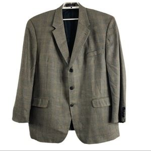 Gianfranco Ruffini Silk Wool Houndstooth Blazer